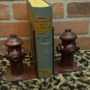Fire Hydrant Fireman Red Gift Book ends 3D Decor